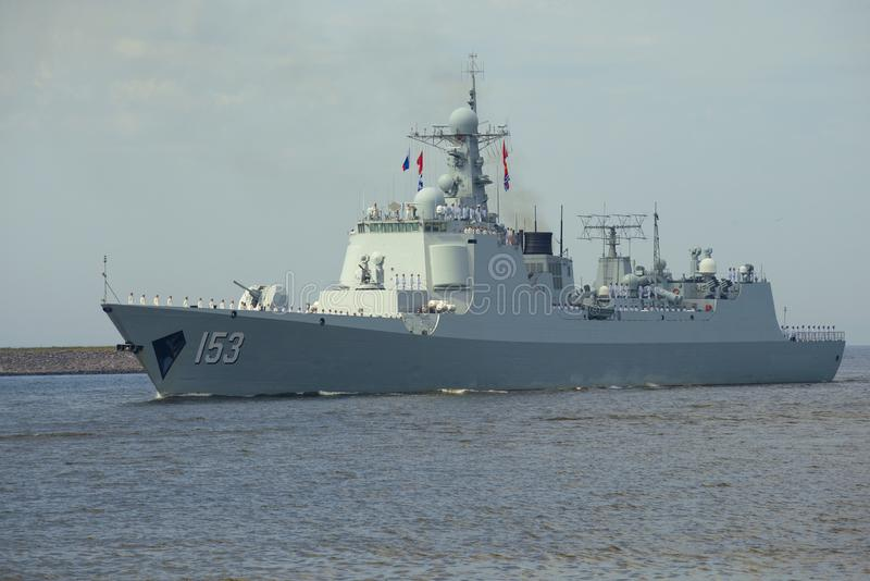 Destroyer de The? des forces navales chinoises Si-ngan photographie stock
