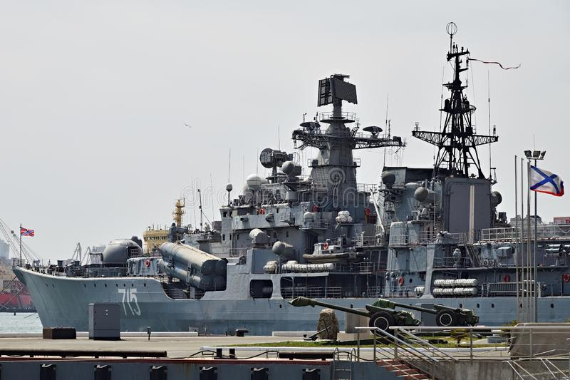 The destroyer Fast or Bystryy. Russian Navy stock image