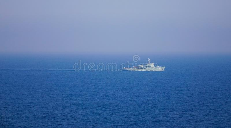 Destroyer ship of South Korea Navy. Jeju, South Korea - Jun 4, 2019. Destroyer ship of Republic of Korea Navy on the blue sea in sunny day royalty free stock photo