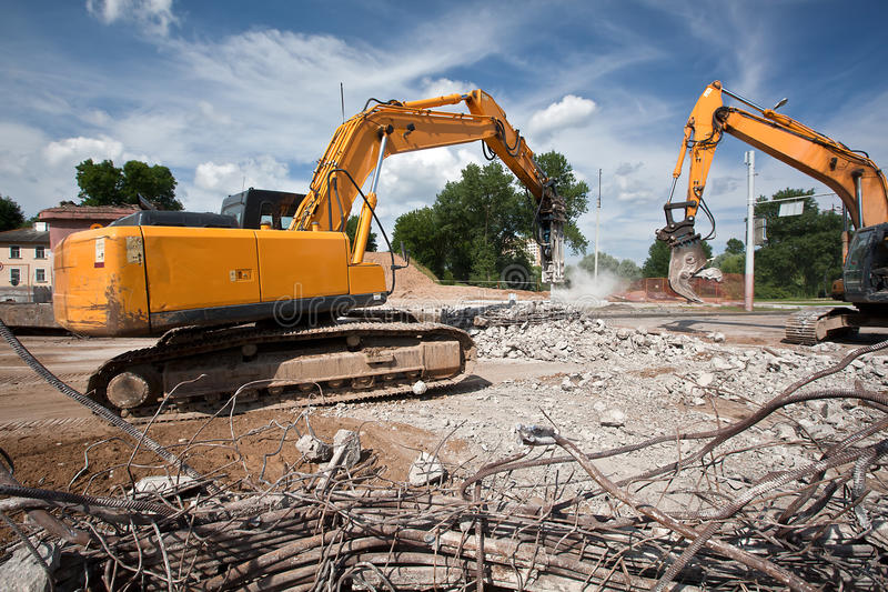 Destroying reinforced concrete structures royalty free stock photos