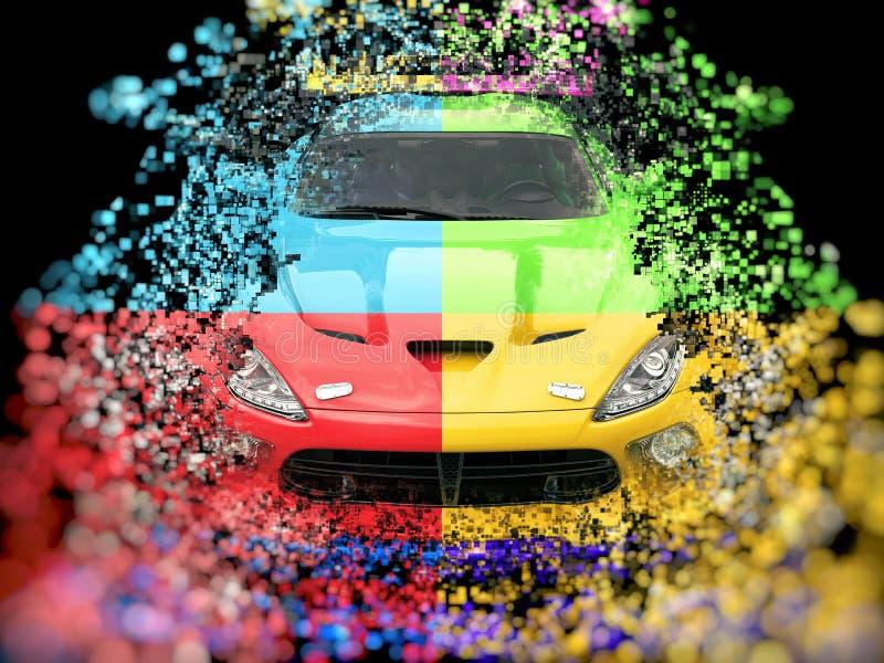 Destrucción abstracta automotriz del pixel de cuatro deportes del color ilustración del vector