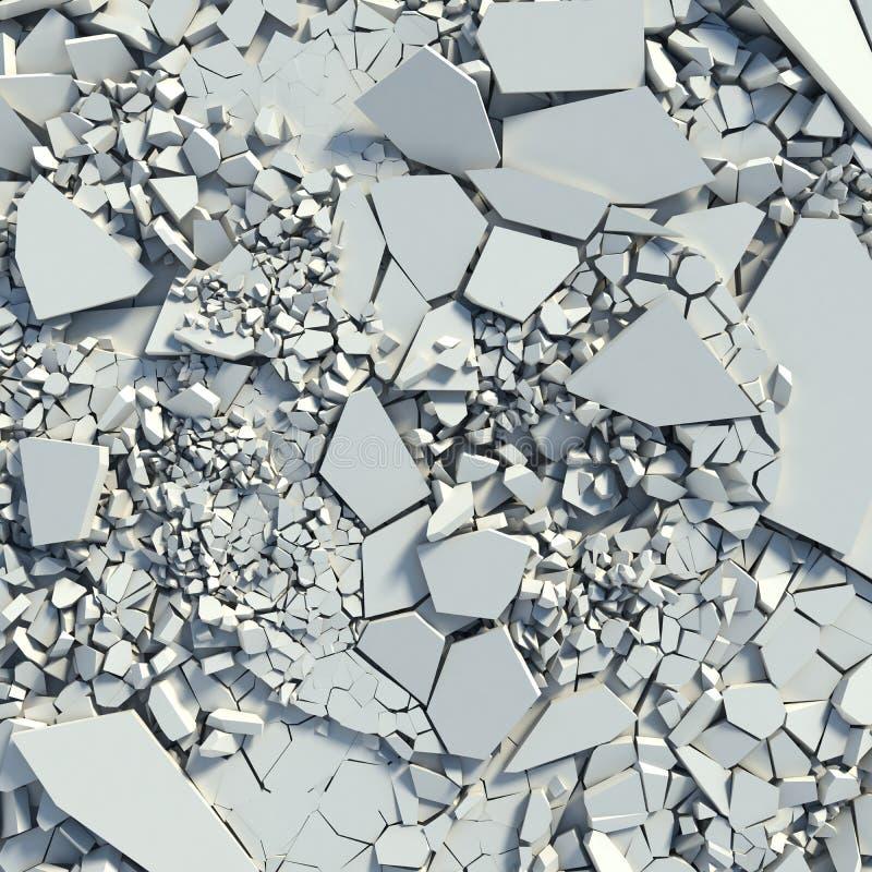 Destrucción de un muro de cemento. ruina ilustración del vector
