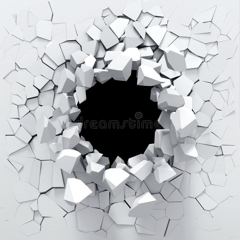 Destrucción de una pared blanca stock de ilustración