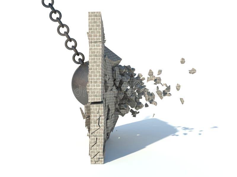 Destrucción de una pared de ladrillo stock de ilustración
