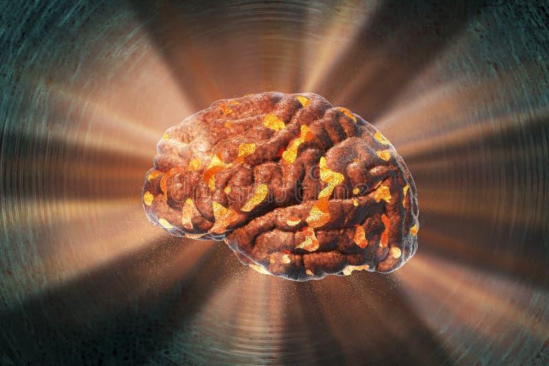 Destrucción del cerebro, concepto médico para la enfermedad de cerebro, quemadura, depresión, dolor de cabeza o jaqueca foto de archivo