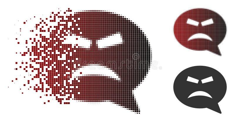 Destructed Dot Halftone Furious Smiley Message symbol royaltyfri illustrationer