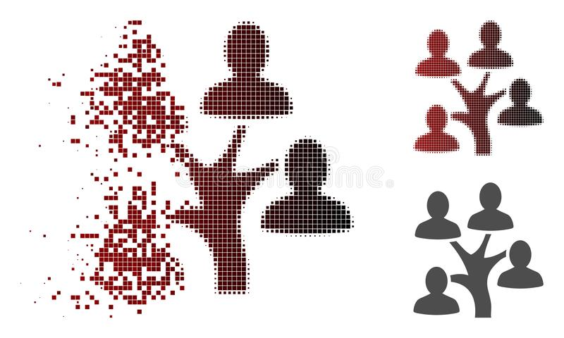 Destructed Dot Halftone Genealogy Tree Icon. Genealogy tree icon in dispersed, dotted halftone and undamaged solid variants. Fragments are organized into vector vector illustration