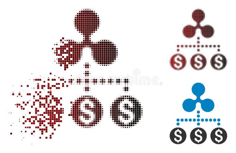 Destructed för pengarkrusning för PIXEL rastrerad symbol för förbindelse vektor illustrationer