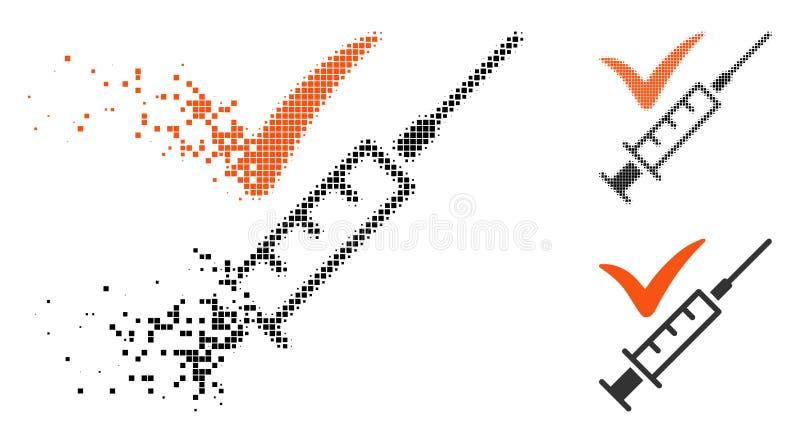 Destructed gjord vaccineringsymbol för PIXEL halvton royaltyfri illustrationer