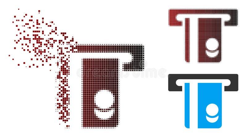 Destructed Pixel Halftone Automated Banking Service Icon. Vector automated banking service icon in sparkle, pixelated halftone and undamaged entire variants stock illustration