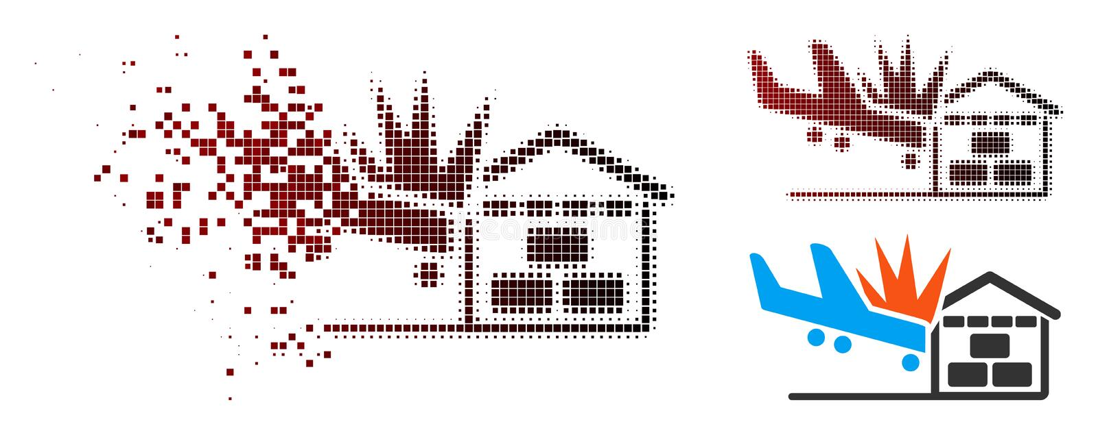 Destructed Pixelated Halftone Airplane Hangar Crash Icon. Airplane hangar crash icon in dispersed, pixelated halftone and undamaged solid versions. Cells are royalty free illustration