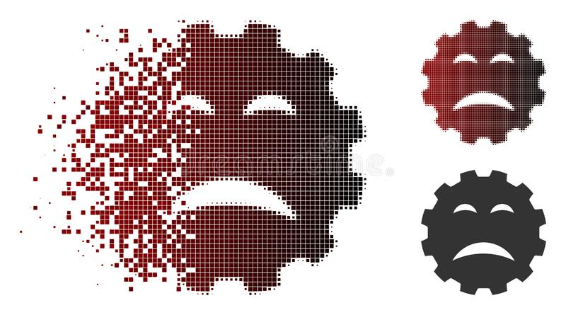 Destructed Pixelated Halftone Sadly Smiley Gear Icon. Sadly smiley gear icon in dispersed, pixelated halftone and undamaged whole versions. Particles are grouped royalty free illustration