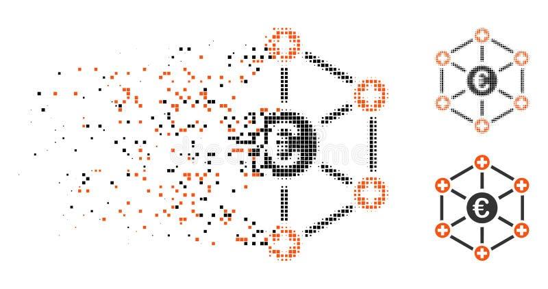 Destructed symbol för nätverk för rastrerat euro för PIXEL medicinsk vektor illustrationer