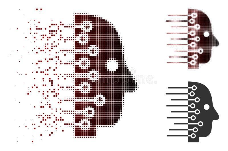 Destructed symbol Pixelated rastrerad för konstgjord intelligens stock illustrationer