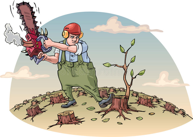 Destructing the forest royalty free illustration