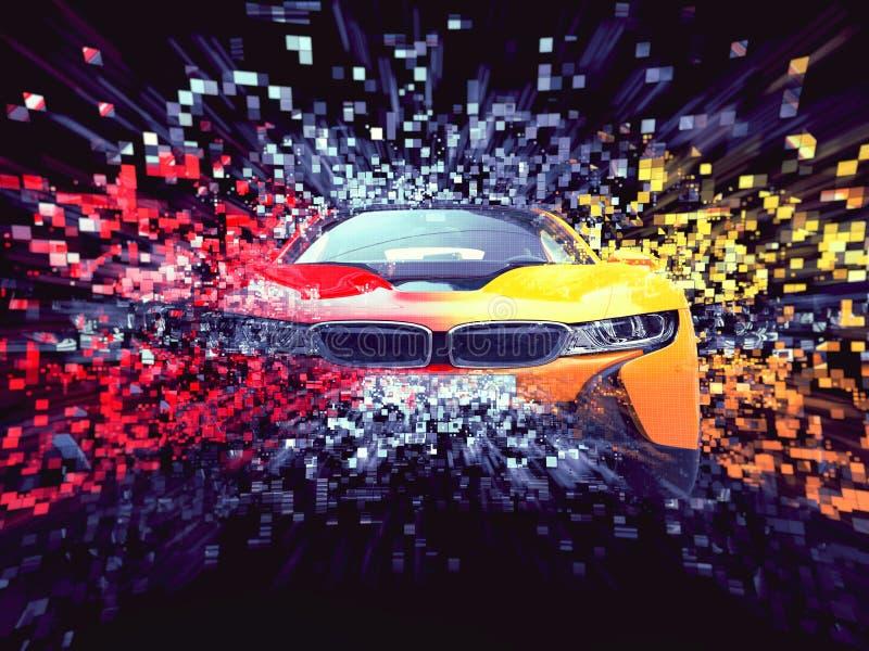 Destruction abstraite automobile de pixel de deux sports de couleur illustration de vecteur