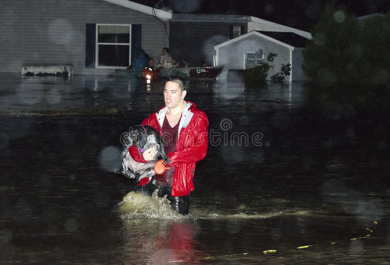 Destruction in Berlin Vermont: Hurricane Irene. Mark Collier / Staff Photo Weston Trailer Park residents evacuate after the Dog River overflowed it's banks stock photography