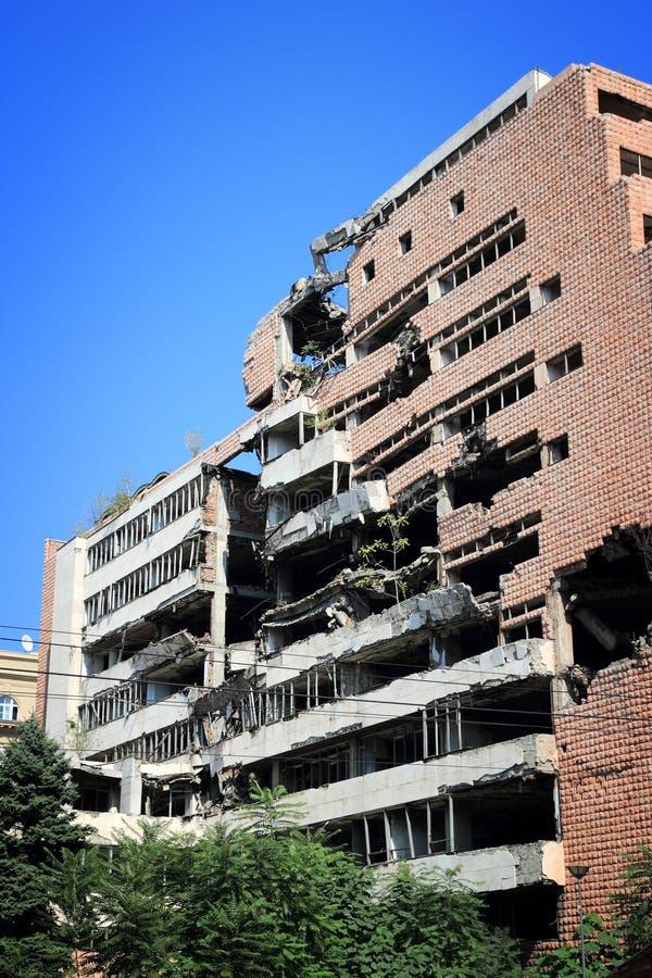 Destruction de guerre de Belgrade photo libre de droits