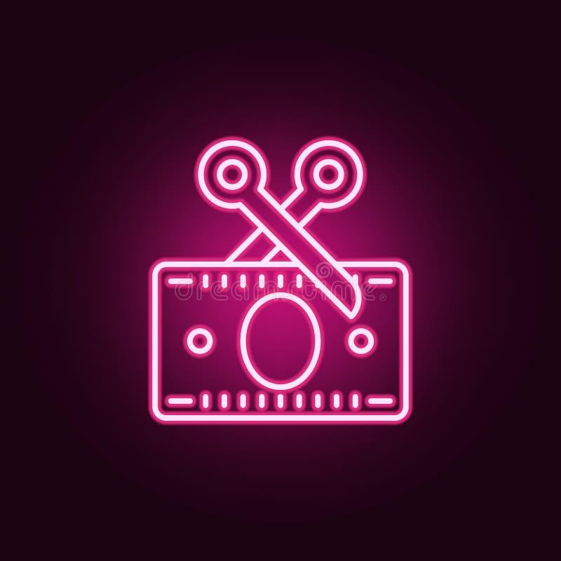 destruction de l'icône au néon de carte de crédit r E illustration de vecteur
