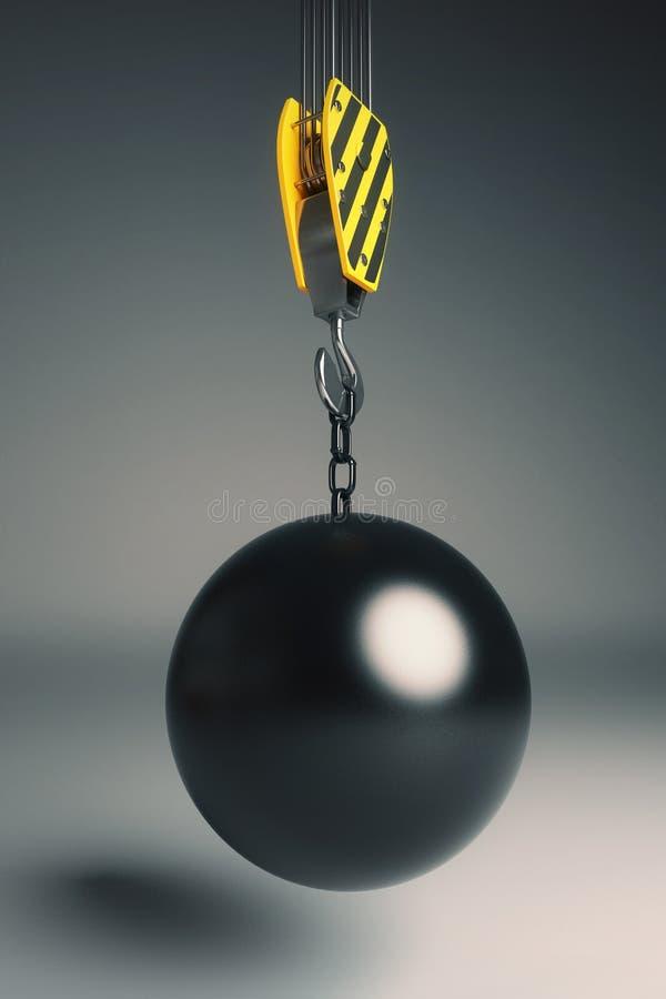 Destruction de la boule sur le crochet illustration stock