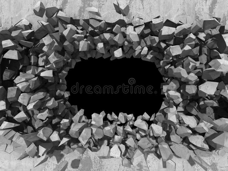 Destruction de mur en pierre en béton Backgro industriel de trou foncé photo libre de droits