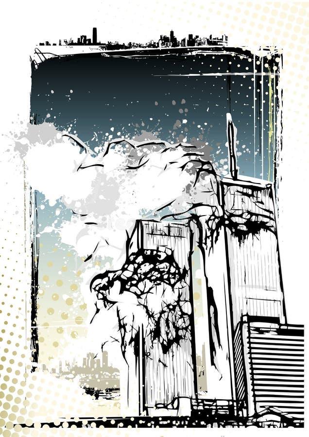 Destruction de World Trade Center illustration de vecteur
