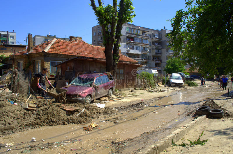 Destruction in flooding Varna Bulgaria. These are the consequences of record rain that poured over the city of Varna,quarter Asparuchovo on June 19th, 2014.tidal stock photo