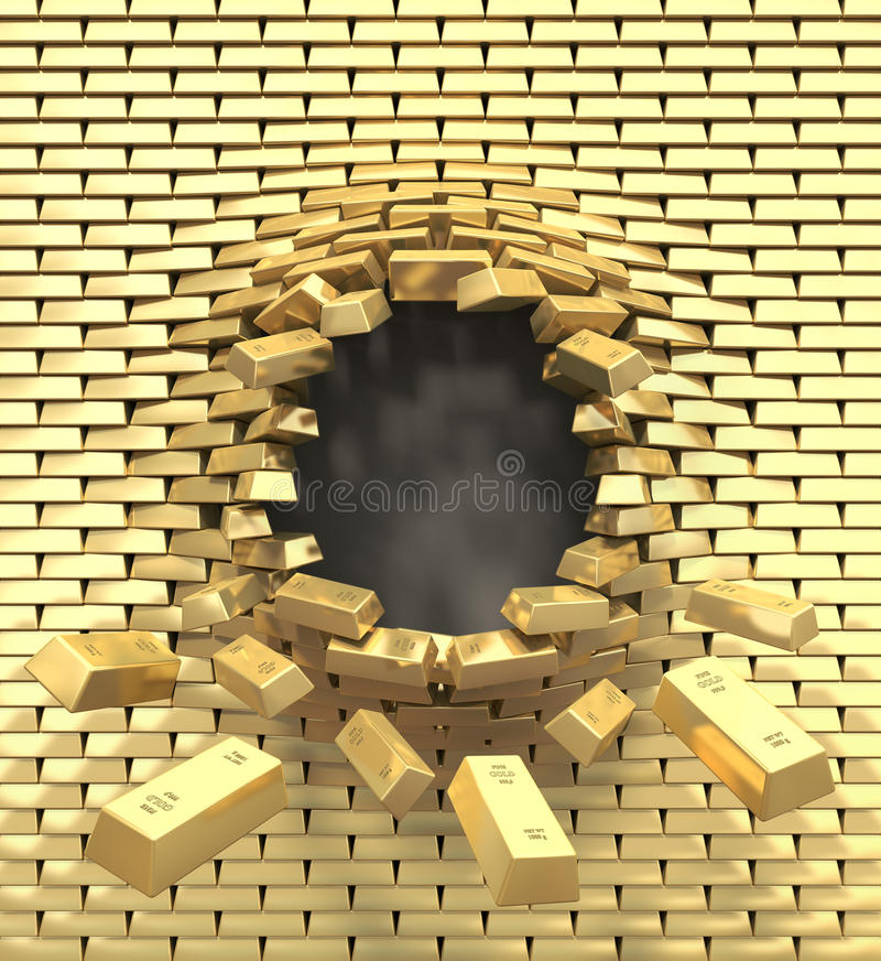 Download Destruction Of A Golden Wall Stock Illustration - Illustration of business, destruction: 28941979