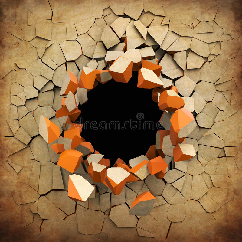 Destruction of a old grunge wall royalty free illustration
