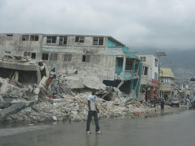Destruction on the streets of haiti royalty free stock photos