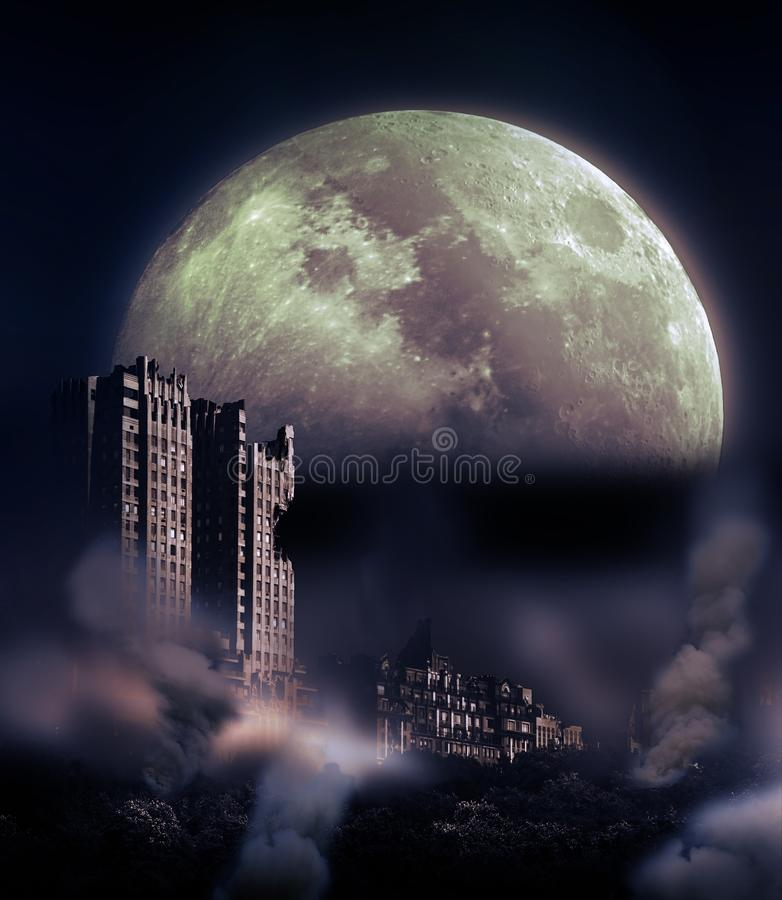 Destruction under the Moonlight. Big Moon over the chaos and destruction of part of New York after a cataclysm due to natural or human reasons stock image