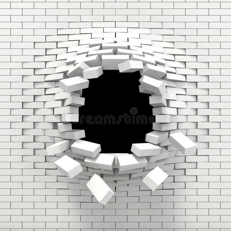 Destruction of a white brick wall stock illustration