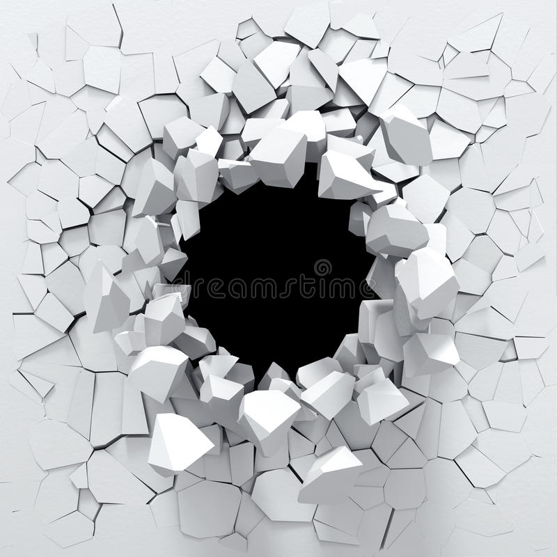 Destruction of a white wall stock illustration