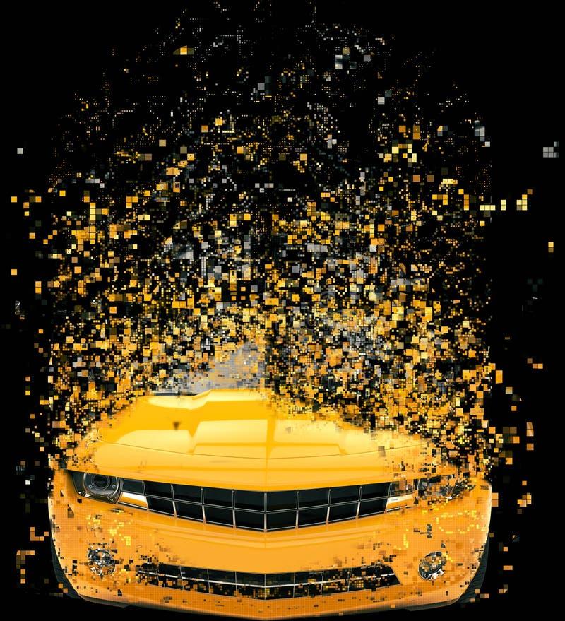 Destruição automobilístico do pixel do músculo amarelo ilustração royalty free