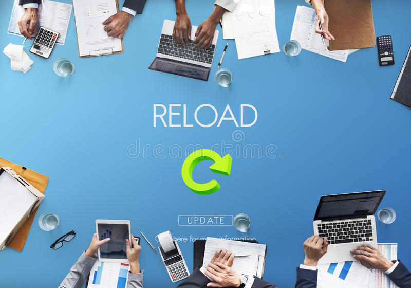 A destruição da funcionalidade do Reload refresca o conceito fotografia de stock