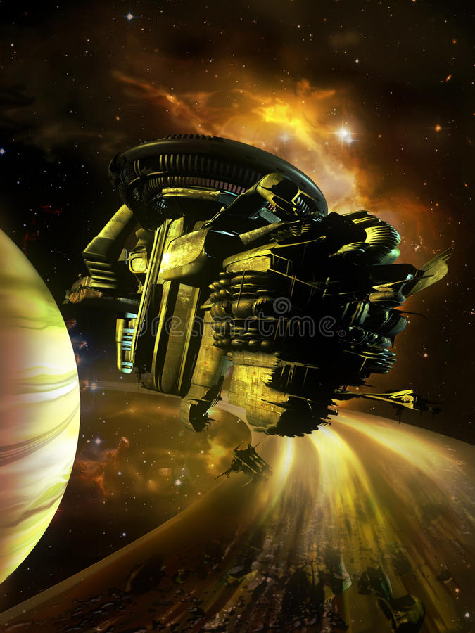 Destruição da nave espacial ilustração royalty free