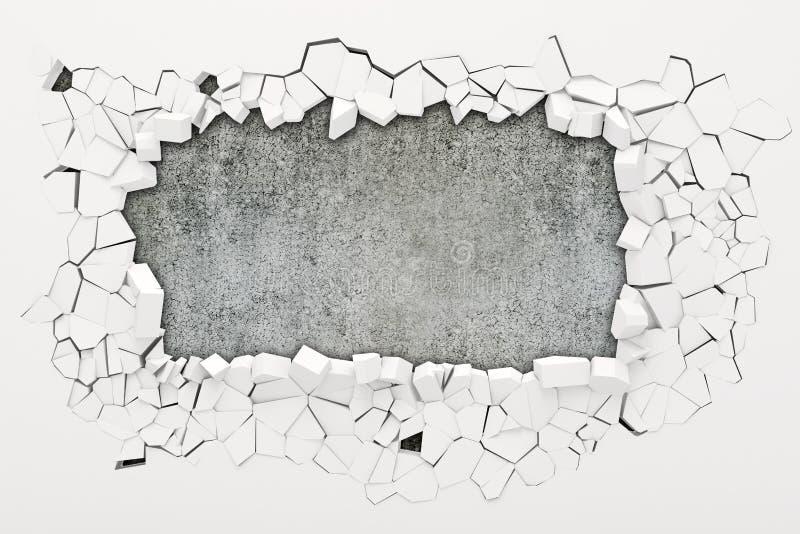 destruição da parede 3d ilustração stock