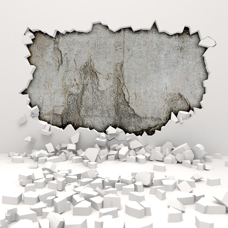 destruição da parede 3d ilustração do vetor