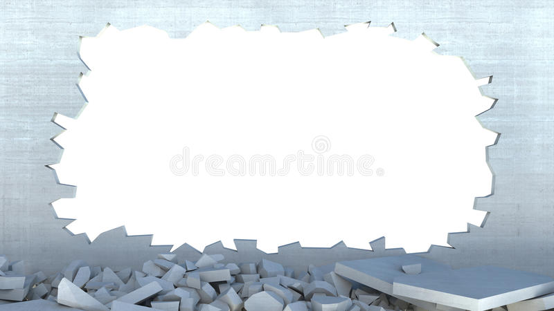 destruição da parede 3d ilustração royalty free