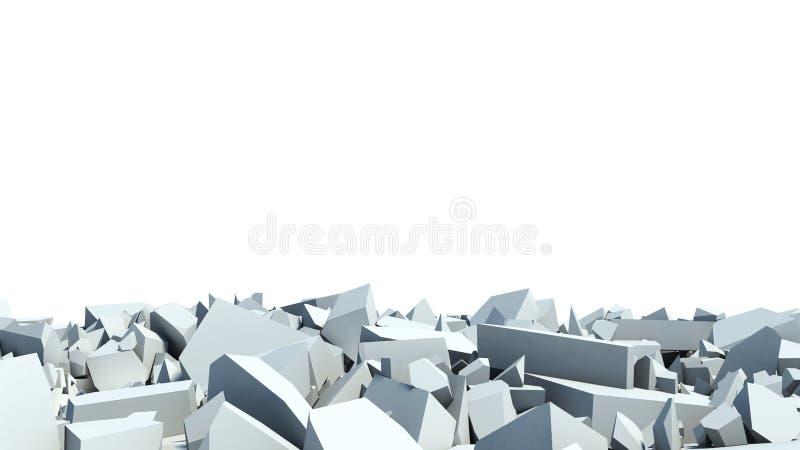 Destruição de um muro de cimento restos ilustração royalty free