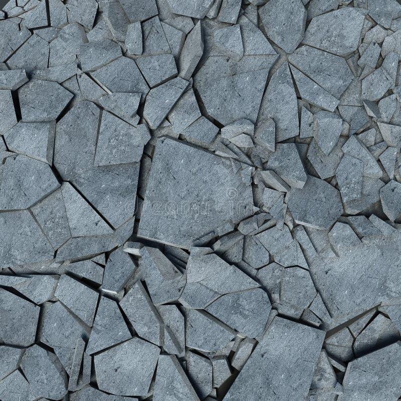 Destruição de um muro de cimento restos ilustração stock