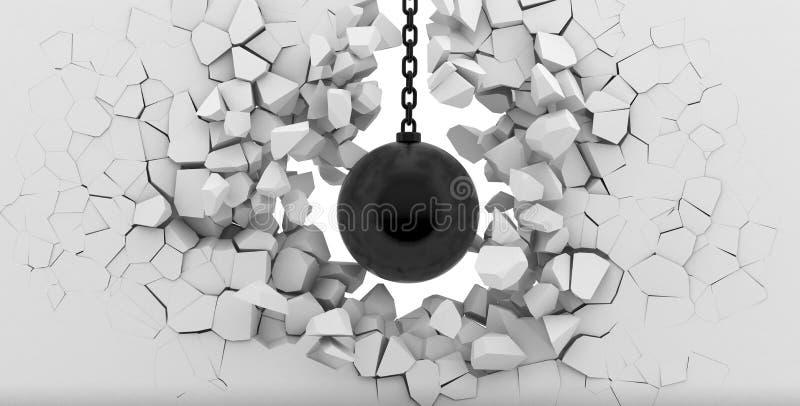 Destruição de uma parede branca ilustração do vetor