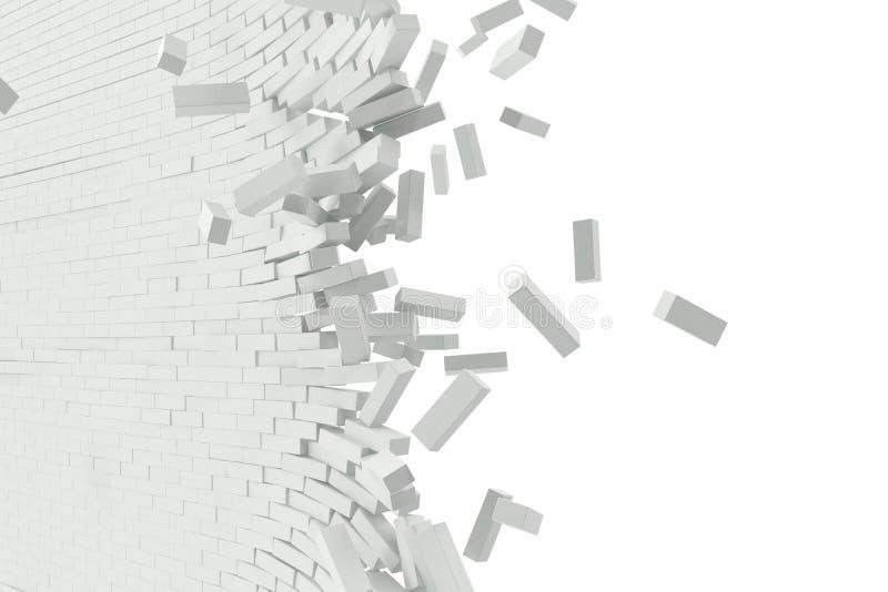 Destruição de uma parede branca com texto vazio ilustração 3D ilustração do vetor