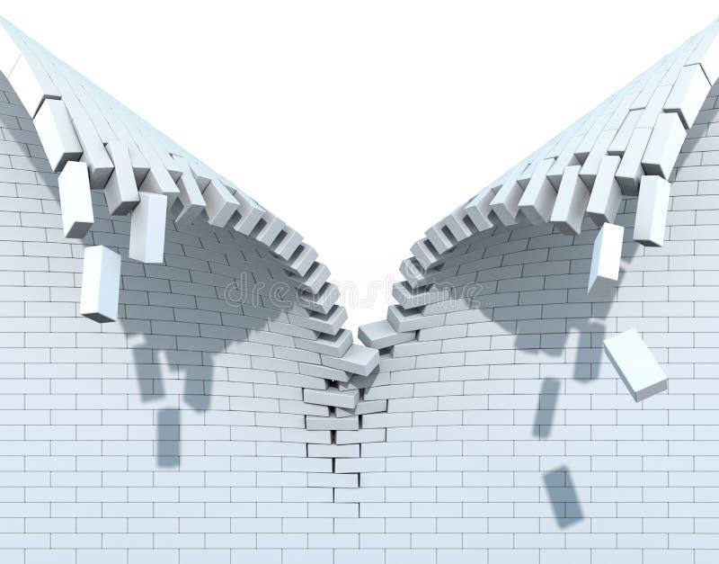 Destruição de uma parede de tijolo branca ilustração royalty free
