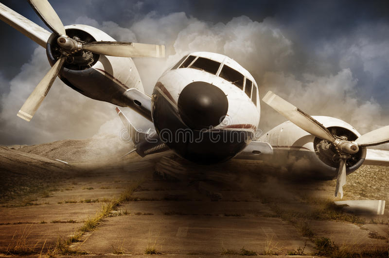 Destruição do avião do desastre imagens de stock