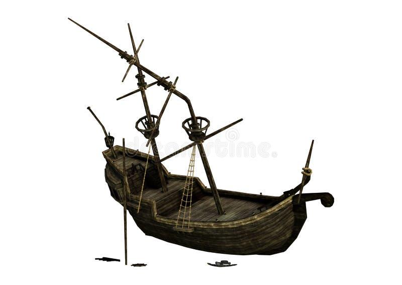 destruição do navio da rendição 3D no branco ilustração royalty free