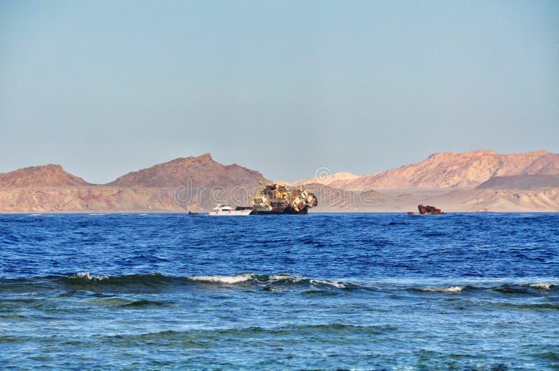 Destruição do navio do navio no Mar Vermelho fotografia de stock royalty free