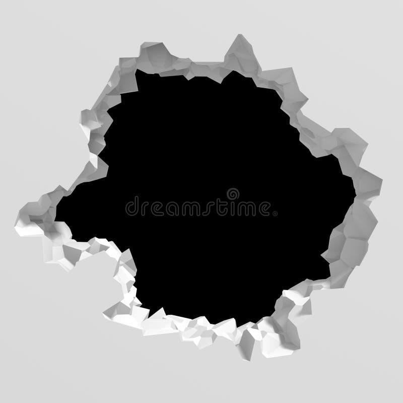 A destruição escura rachou o furo na parede de pedra branca ilustração do vetor