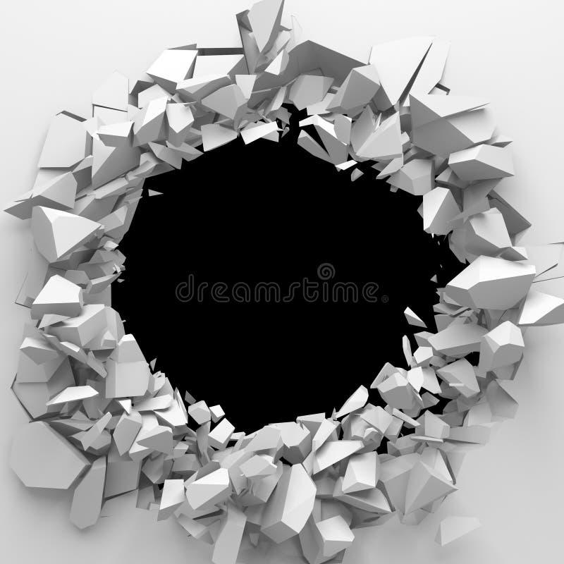 A destrui??o escura rachou o furo na parede de pedra branca fotografia de stock royalty free