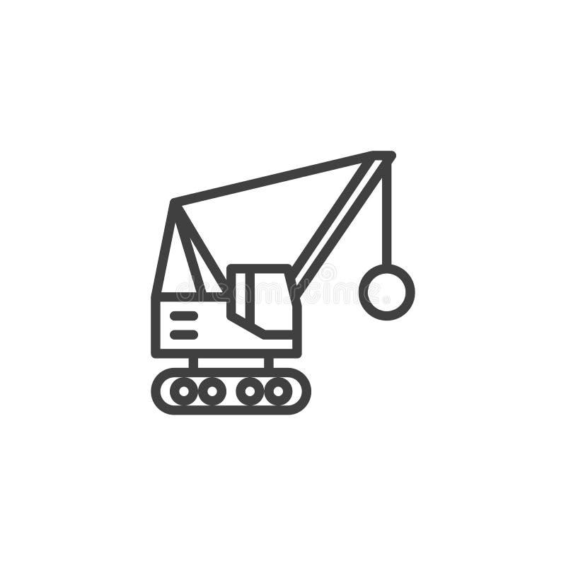 Destruindo a linha ícone do caminhão da bola ilustração royalty free